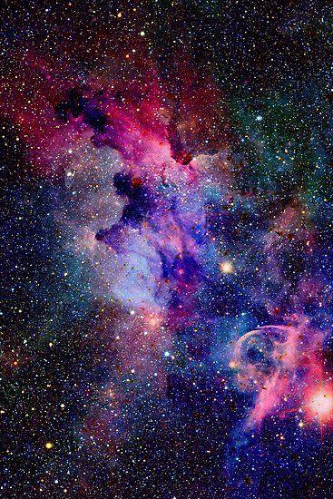 Pink Blue Glitter Galaxy Art Photographic Print