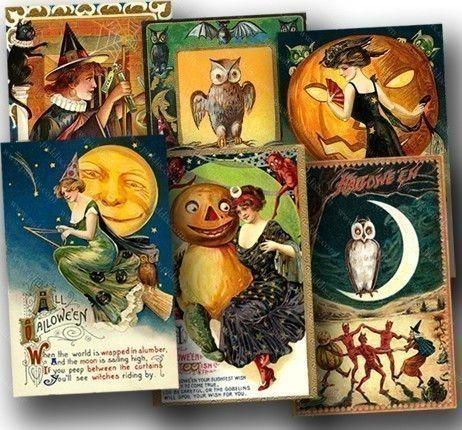 New Vintage Halloween Postcards Two piddix digital by piddix, $300 - sexy halloween decorations