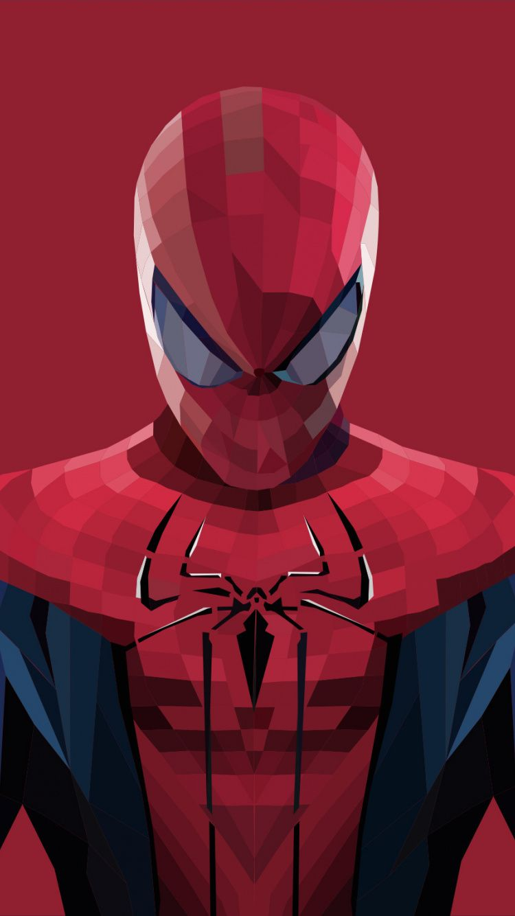 Spider-man, polygons art, artworks, 750x1334 wallpaper