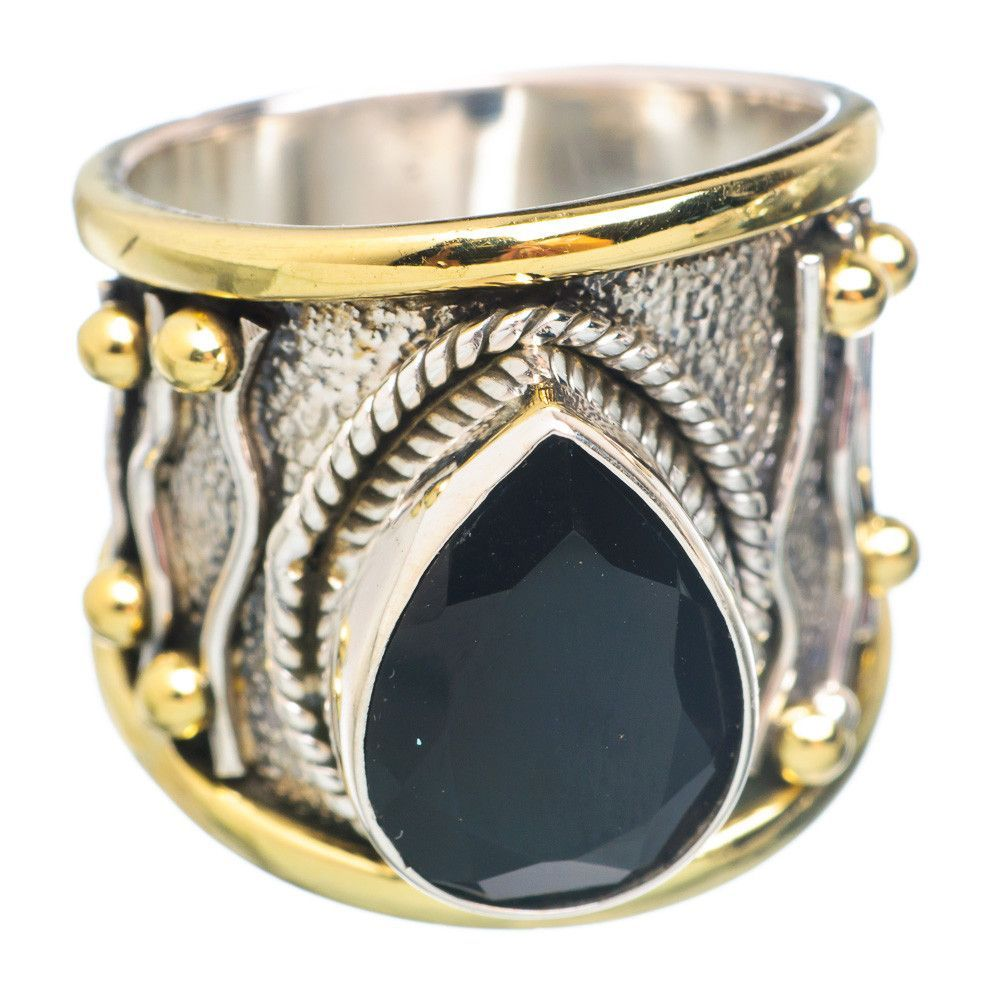 Large Black Onyx 925 Sterling Silver Ring Size 8 RING743103