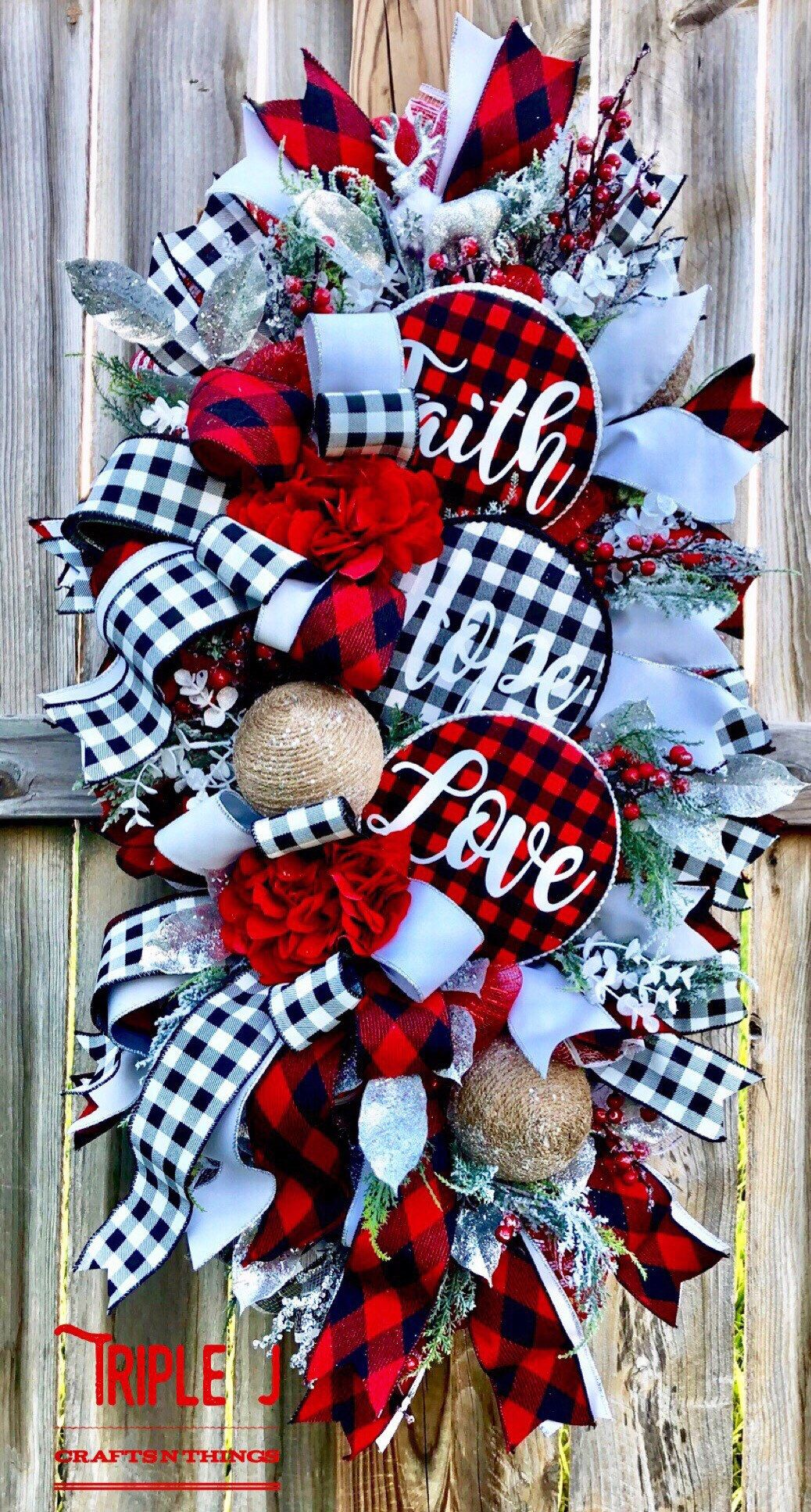 Photo of Christmas Swag for front Door, Christmas Wreath, Christmas Swag, Christmas Door Hanging, Holiday Wreath, Holiday Swag, Winter Wreath,