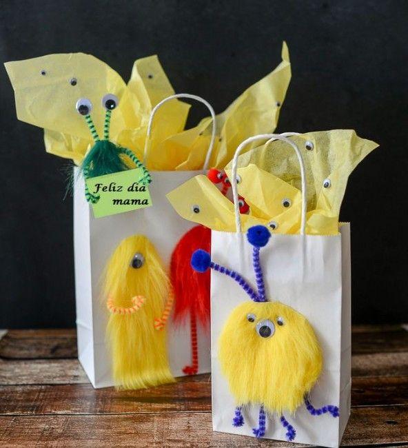 Como hacer bolsas de regalo para mama - Como hacer manualidades faciles ...