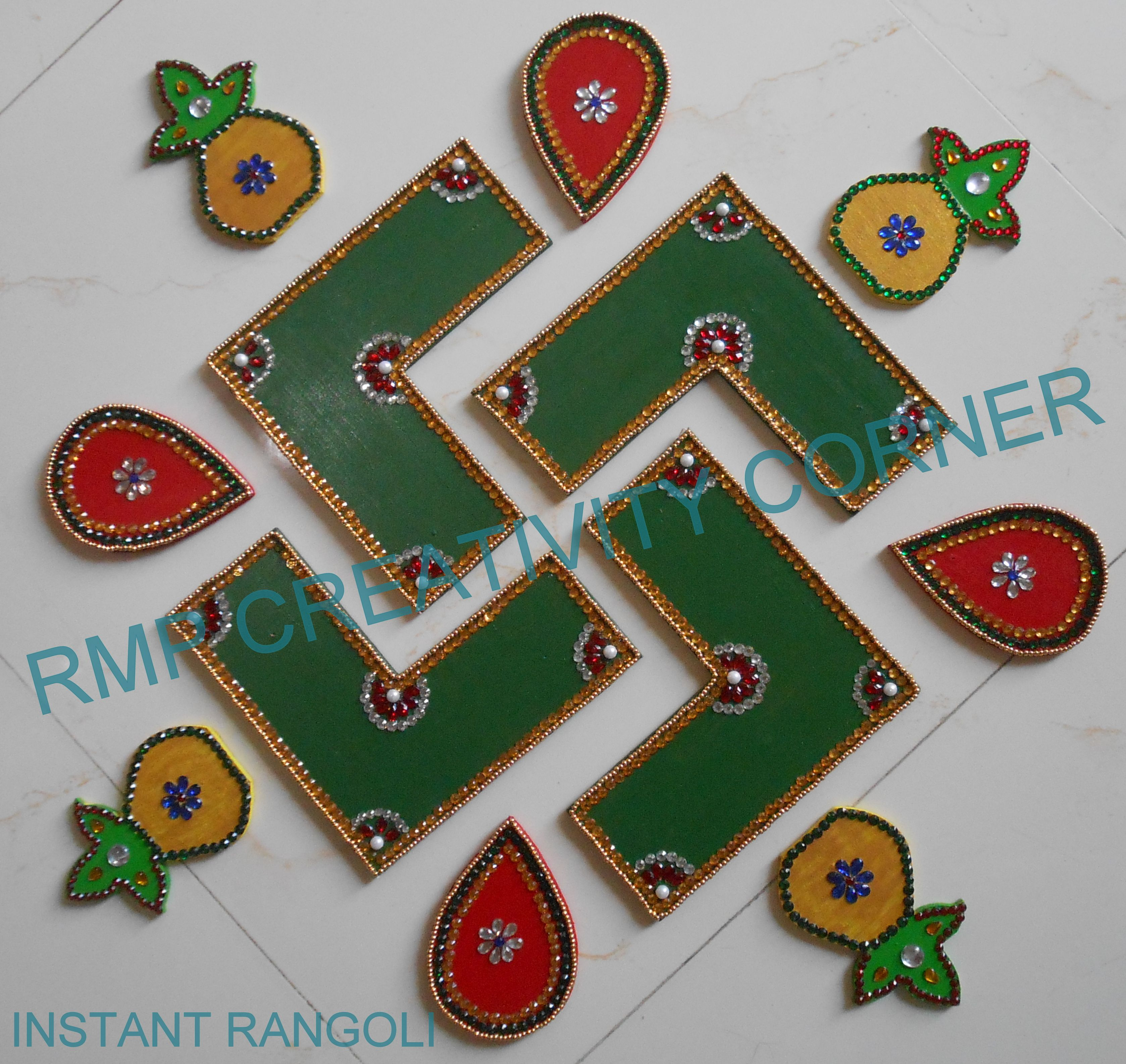 Elegant MDF Board Rangoli, Decorated By Jadtar Material. Used In Diwali Or As A Home.  Dekoideen ...