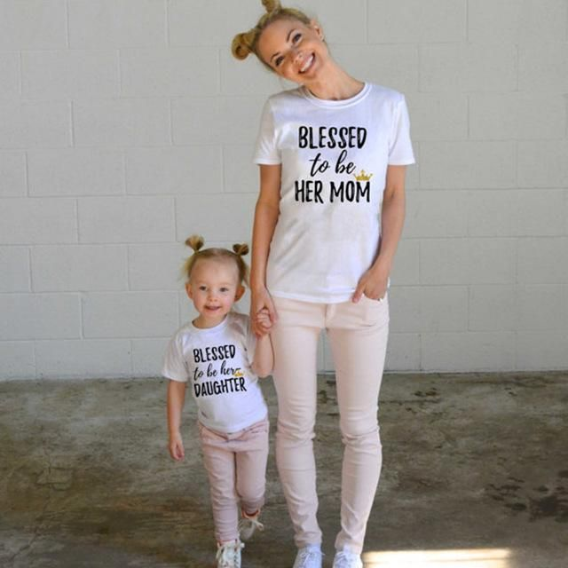 3eece34a01091 Baby Kids Girls Women Short Sleeve T-shirts Family Clothes Cotton Matching  Shirts Blessed to her Mom Daughter T-Shirt Tee Tops