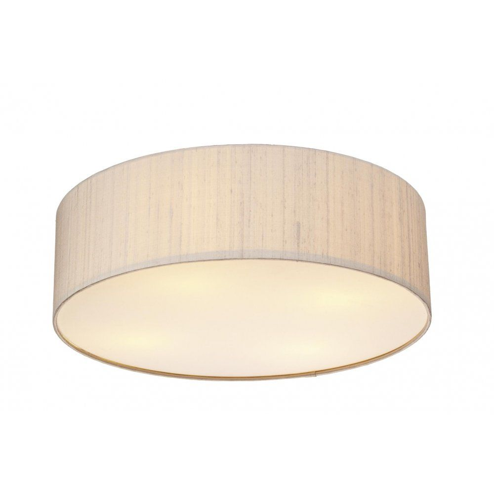 Paolo PAO5001 3 lamp 500mm flush ceiling light silk shade taupe - Paolo PAO5001 3 Lamp 500mm Flush Ceiling Light Silk Shade Taupe