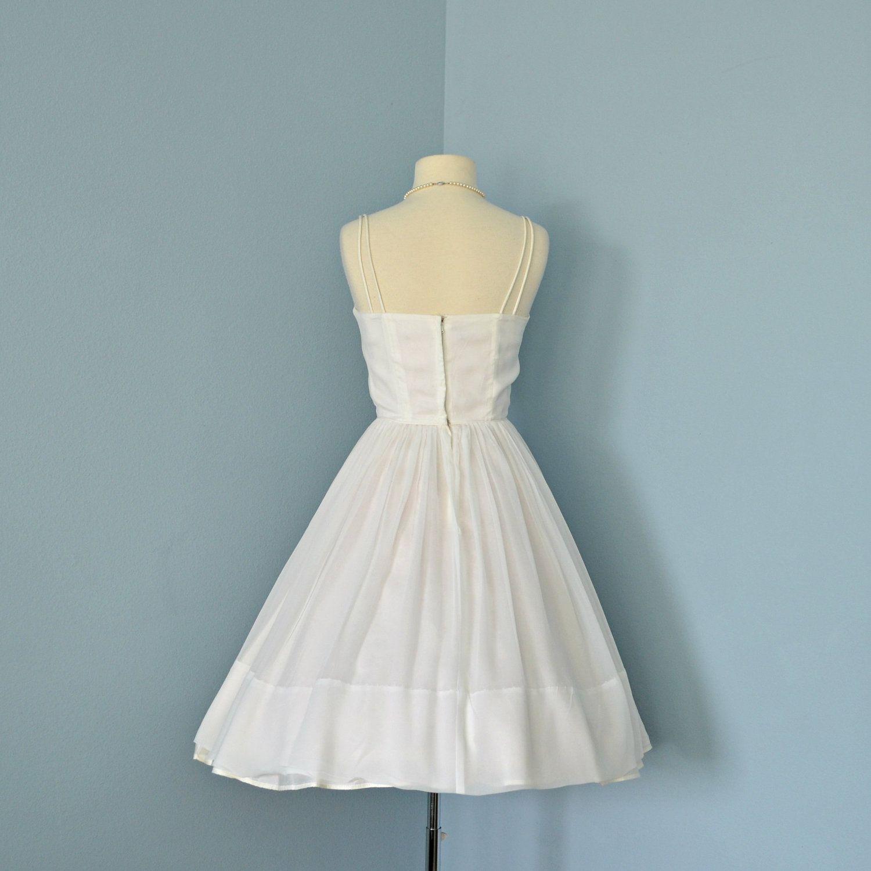 Vintage 1960s Wedding DressBeautiful Short White Chiffon by deomas ...