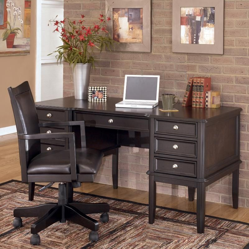 Carlyle Leg Desk with Storage by Signature Design by