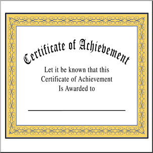 Clip Art Certificate Of Achievement Color  Blank Certificate Of