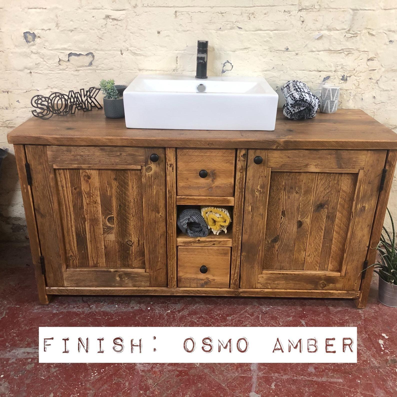 Edinburgh Reclaimed Wood Bathroom Vanity Wood Farmhouse Bathroom Vanity For Sink Rustic Wood Bathroom Vanity With Drawers Wash Stand Reclaimed Wood Bathroom Vanity Wood Bathroom Vanity Wood Bathroom