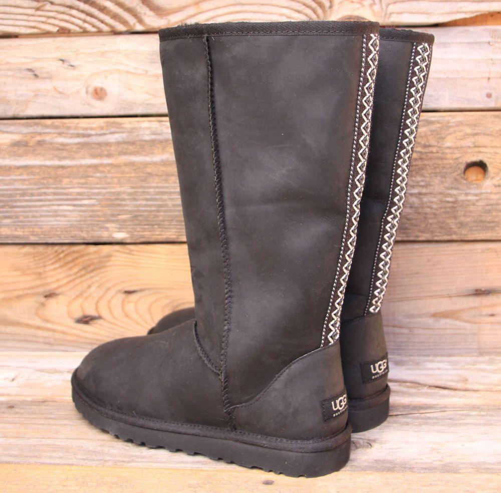 48eb6eb3c5a UGG Australia Womens Tall Tasman Black Ultimate Leather Boot US 9 UK ...