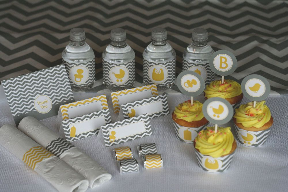 Lovely Yellow And Grey Chevron Baby Shower PRINTABLE Party Kit. $18.00, Via Etsy.