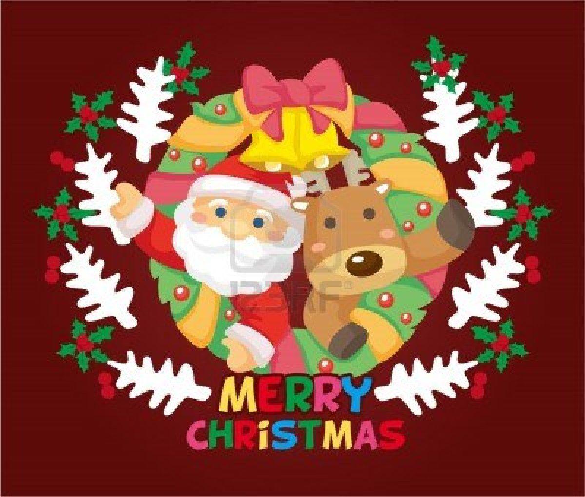 Tarjeta de navidad de dibujos animados foto de archivo - Dibujos tarjetas navidenas ...