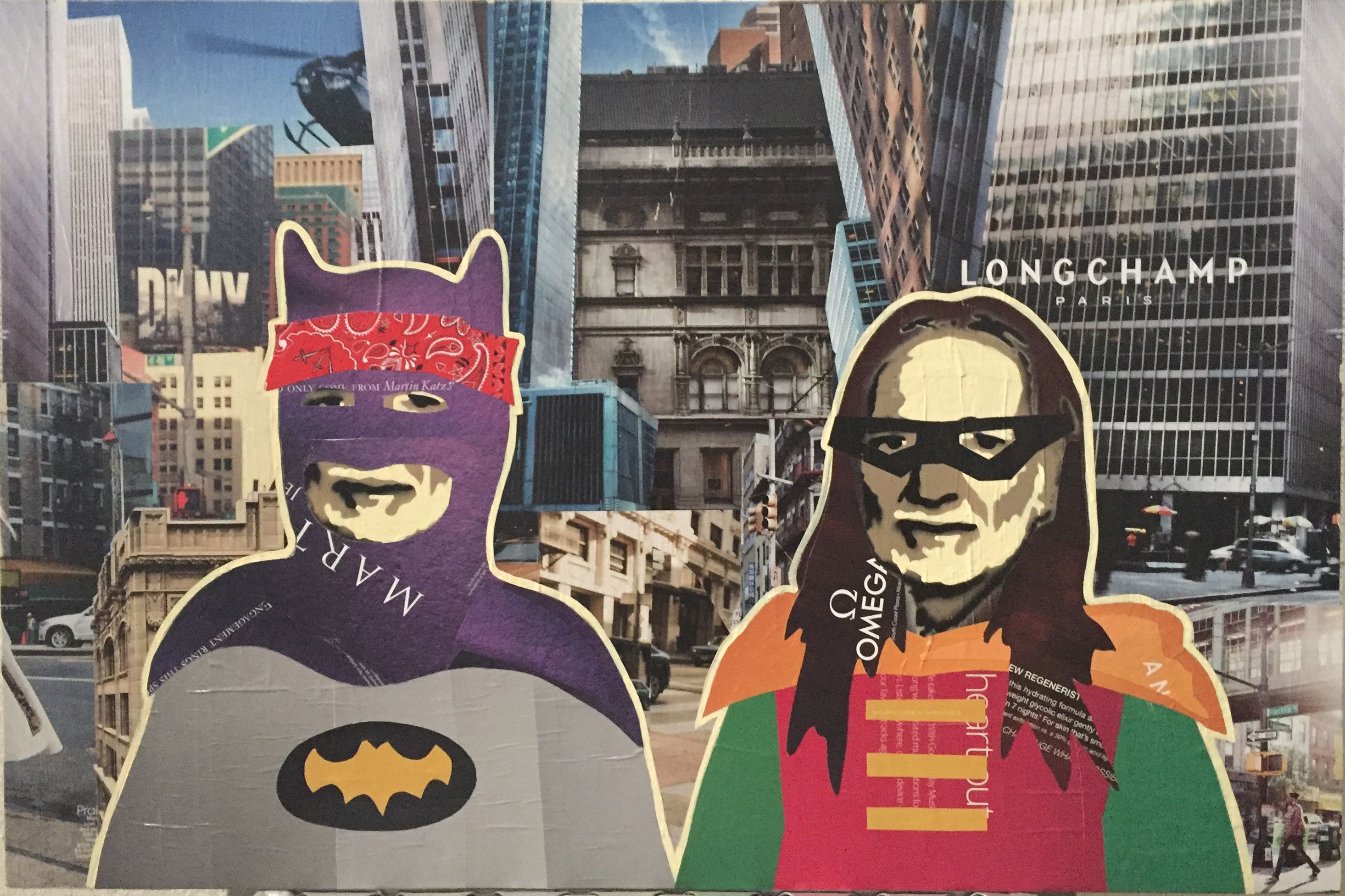 WILLIE AS BATMAN & ROBIN XV mixed media on board 16 x 24 inches 2016 $325  email annegenung@gmail.com or DM to purchase