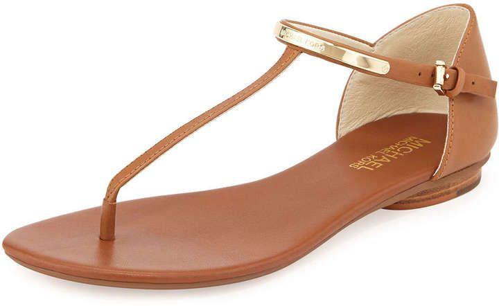 MICHAEL Michael Kors Kristen Leather Thong Sandal, Luggage