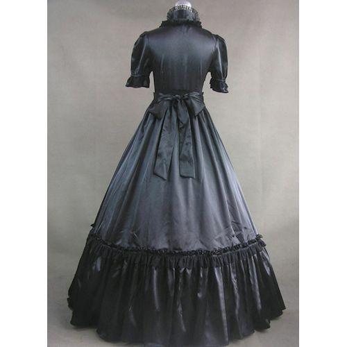 Custom Black Short Sleeve Wild Wild West Pioneer Prom Ball Gown Dresses SKU-302016