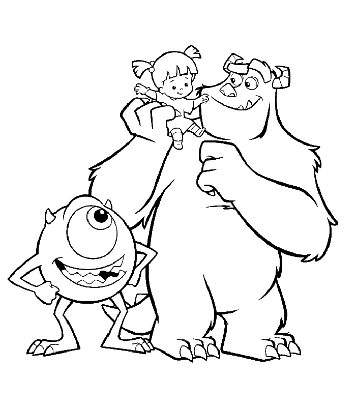 Disney Coloring Page: Monsters Inc. - Sulley and Mike with Boo ...