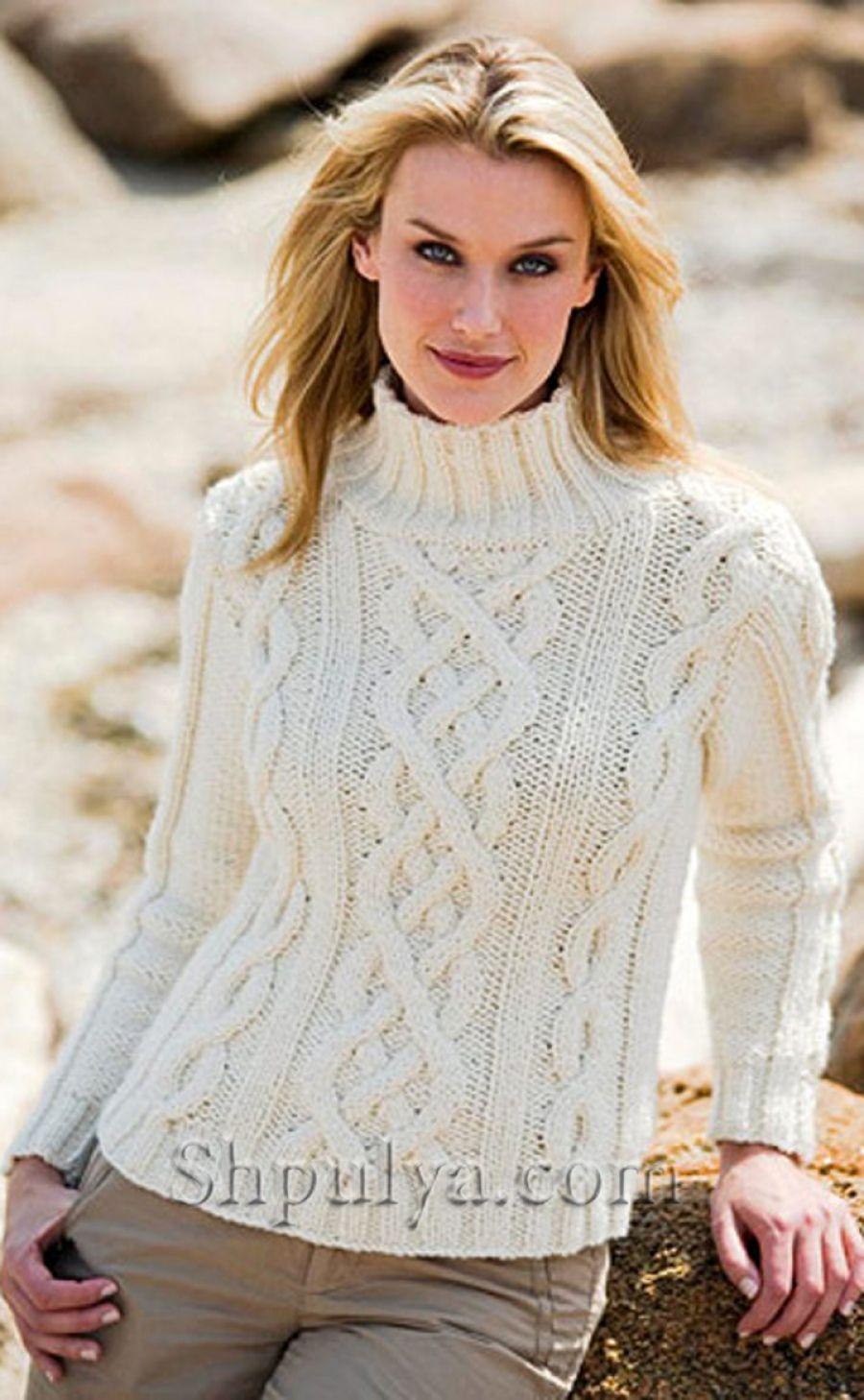 Белый свитер с косичками, вязаный спицами | Aran cables | Pinterest ...