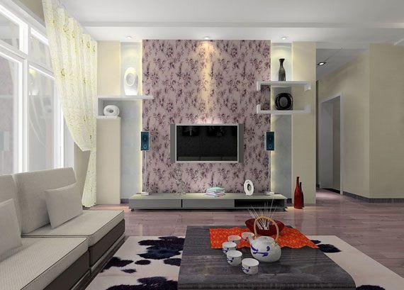 Fabric Panel Behind Tv Elegant Living Room Wallpaper Design Living Room Wallpaper Room Wallpaper Designs