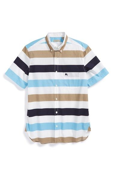 Burberry Brit 'Cubitt' Trim Fit Short Sleeve Stripe Sport Shirt available at #Nordstrom