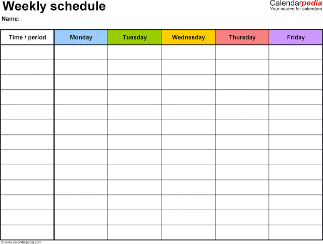 Weekly Timetable Calendar  Template  Homeschool