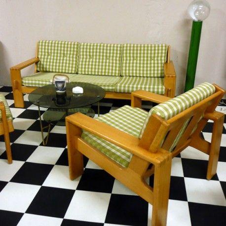 canap et deux fauteuils en pin scandinave vintage dit par habitat dans les ann es 80 tr s. Black Bedroom Furniture Sets. Home Design Ideas