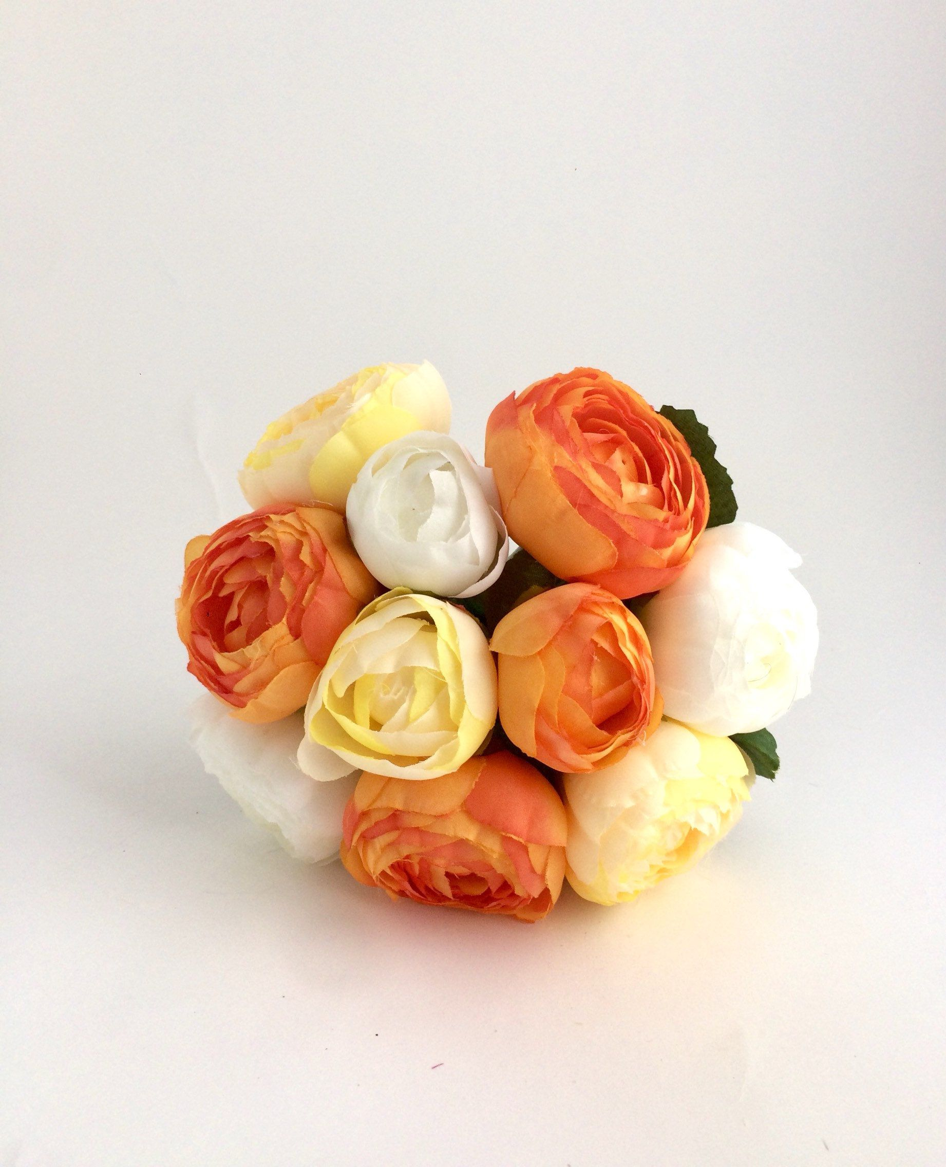 Artificial Bouquet Of Ranunculus Silk Flowers Fake Ranunculus Wedding Bouquet Orange Bouquet Orange Bouquets Artificial Bouquet Silk Flowers