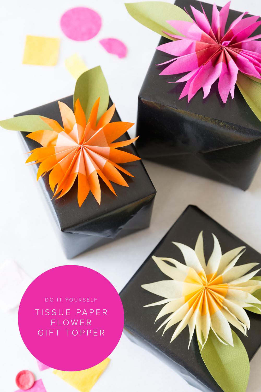 Diy Paper Tissue Flower Gift Topper Pinterest Tissue Flowers