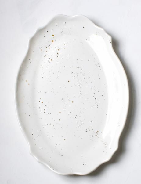 Limited Edition Baroque Platter In White With Gold Splatters Handmade Tableware Modern Tableware Home Design Diy