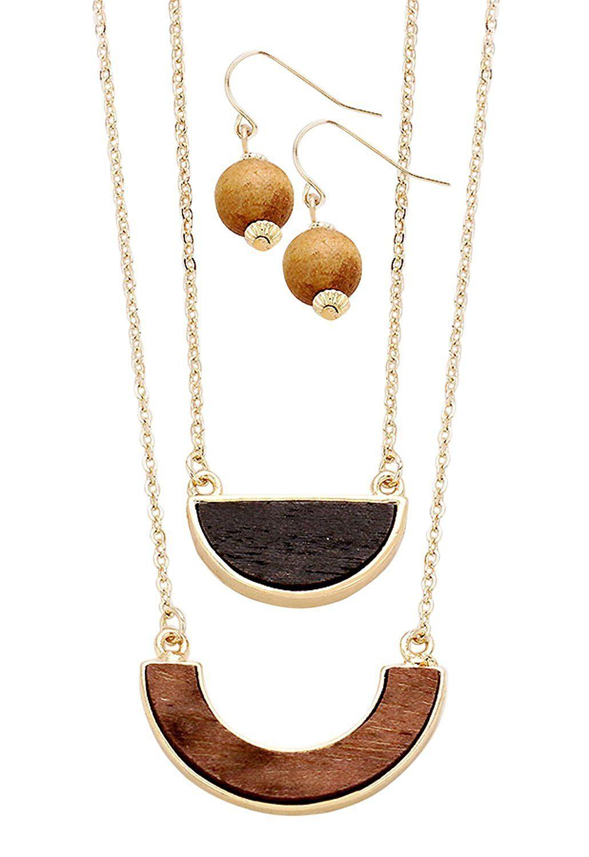 Double Wooden Necklace Earring Pendant Set