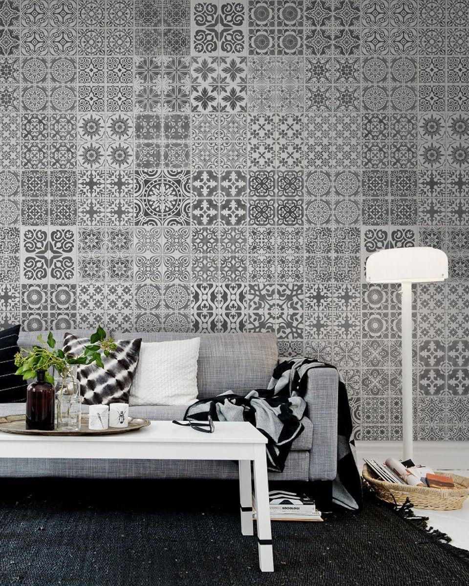 carreaux de ciment deco papier peint salon  Deco salon