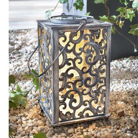 solarleuchte lanterne solar antik aus metall terrassenbeleuchtung gartendeko gartendeko. Black Bedroom Furniture Sets. Home Design Ideas