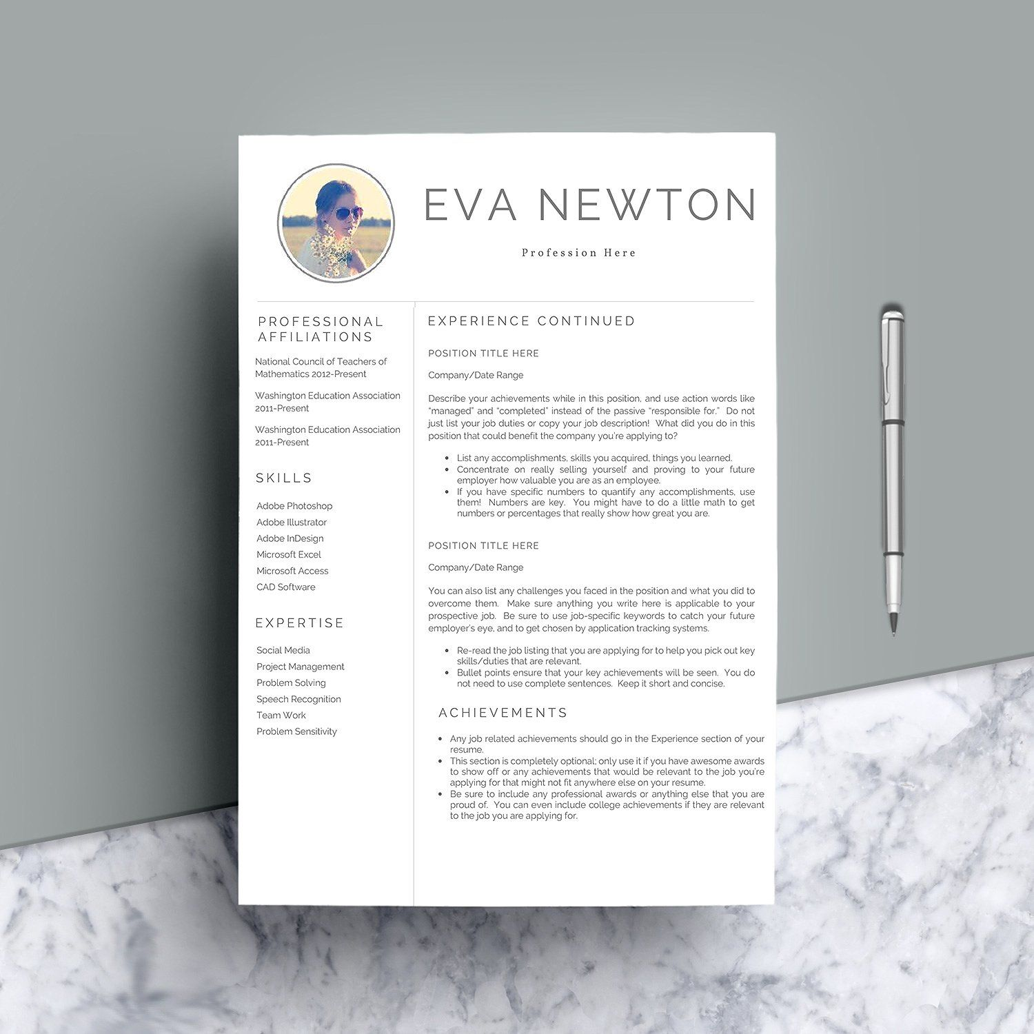Professional Cv Template 4 Pages Cv Template Professional Cv Template Resume Folder