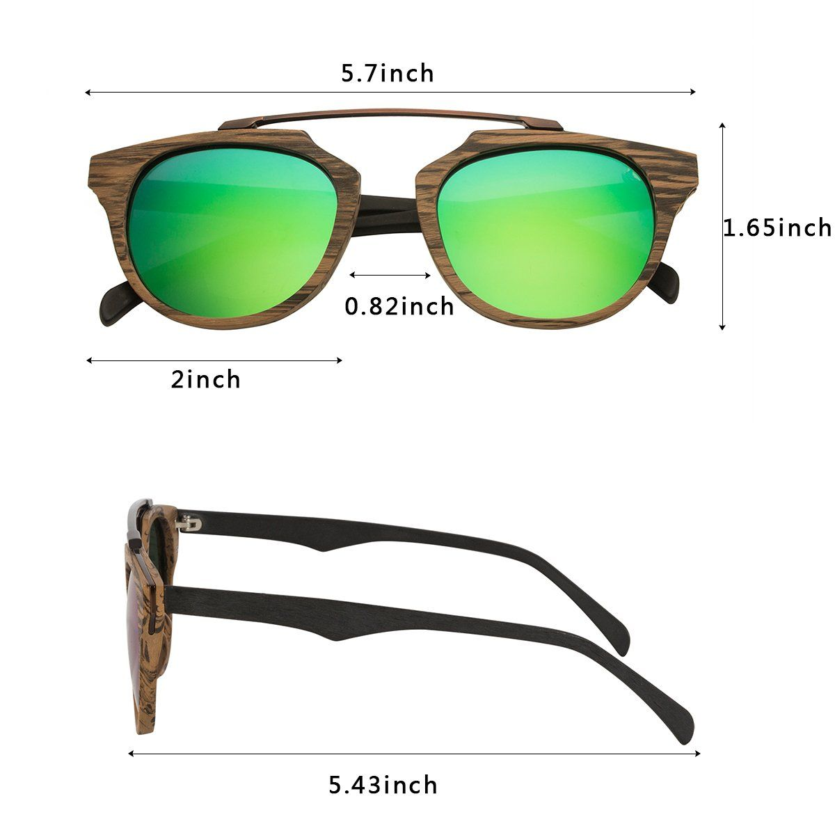 8f735857a751e WISH CLUB Wood Frame Polarized Lenses Sunglasses for Women and Men Wooden  Cat Eye Bamboo Vintage