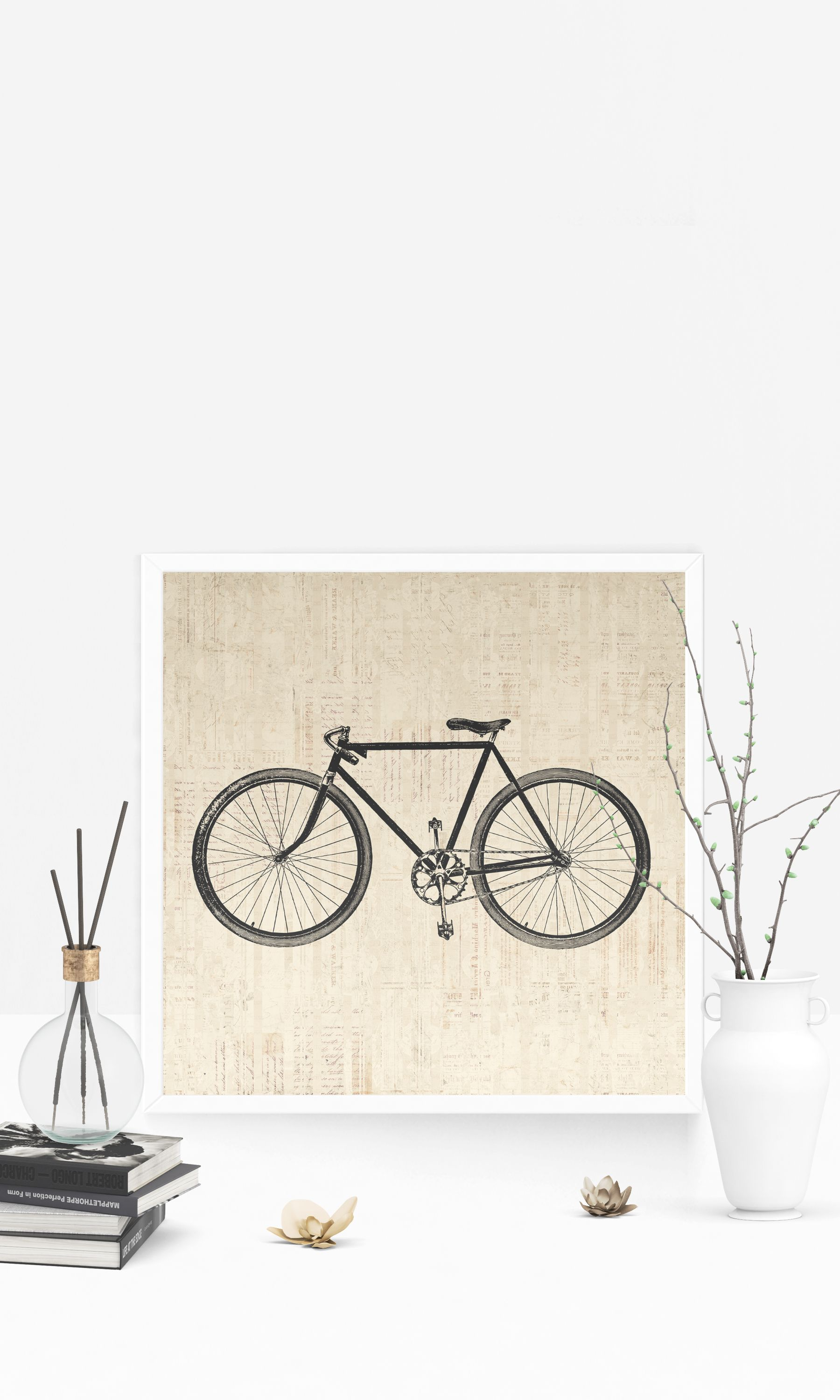 Vintage Bicycle Wall Art Print For Cycling Themed Home Decoration