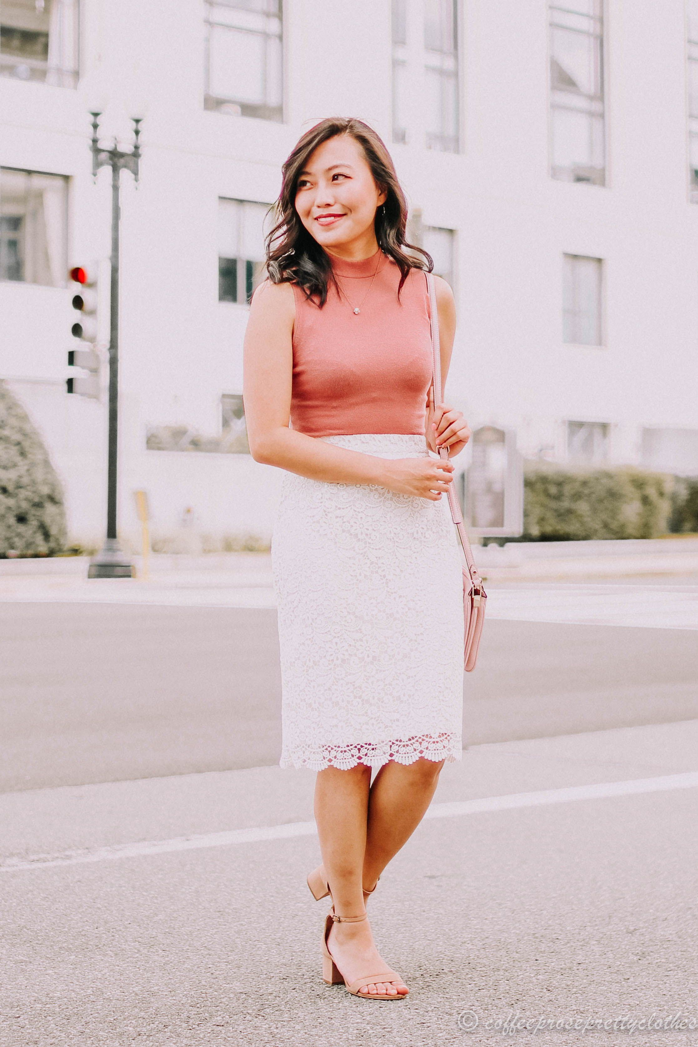 Lace bodysuit styles  Lace pencil skirt and a rose bodysuit  a great work or date outfit