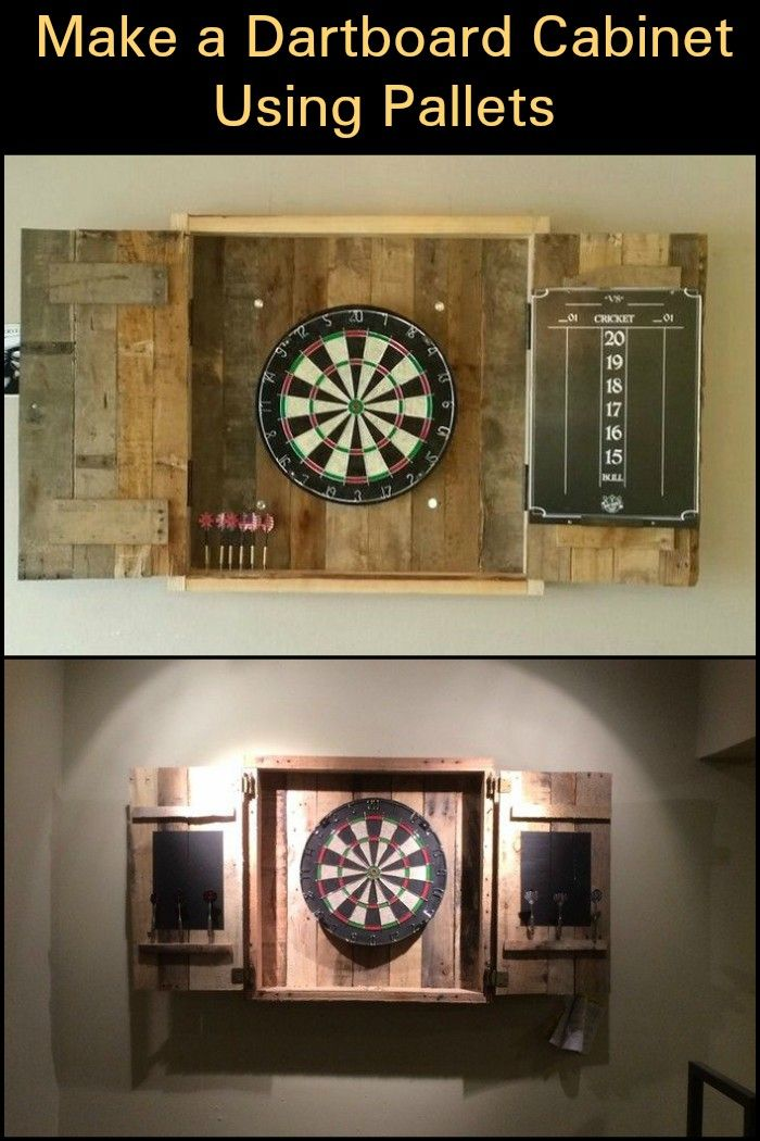 With your own DIY pallet dartboard cabinet, you can ...