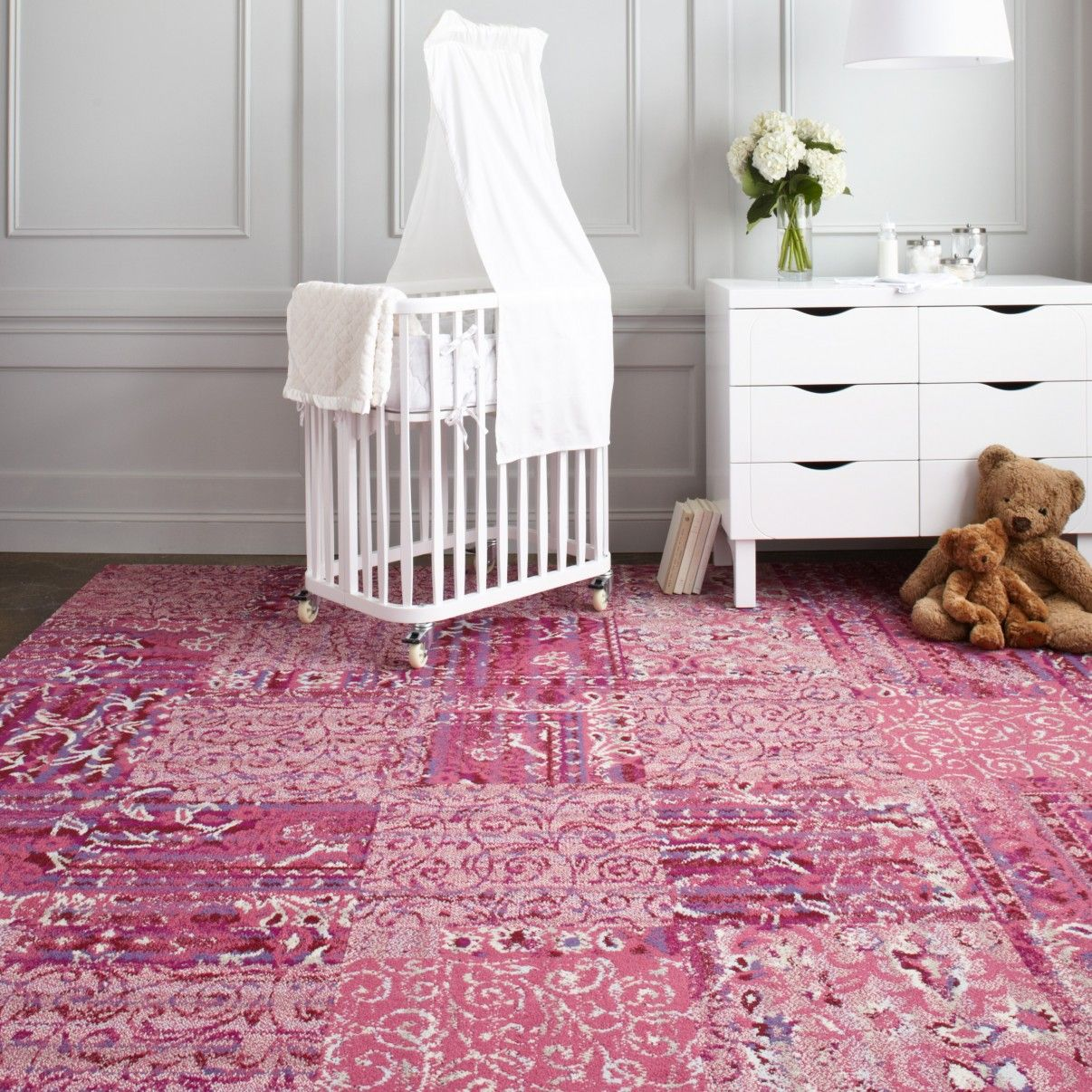 flor reoriented carpet tiles in fab mix of pink patterns