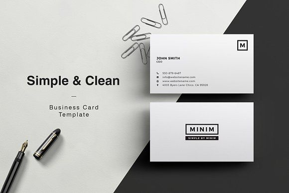 Minim simple clean business card business cards business and minim simple clean business card by made by arslan on creativemarket colourmoves