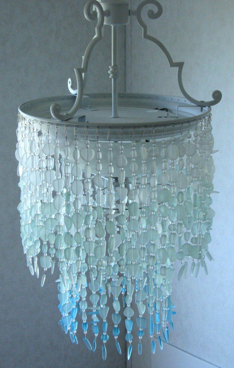 Sea Glass Chandelier Lighting Fixture Coastal Decor Blue Ombre Etsy Sea Glass Chandelier Glass Chandelier Chandelier Lighting Fixtures