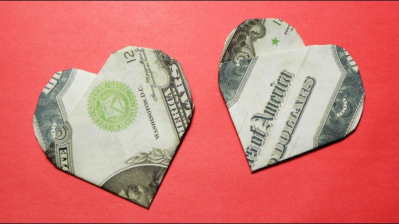 Easy And Simple Origami Money Heart Dollar Tutorial Diy Youtube Origami Easy Money Origami Money Origami Tutorial
