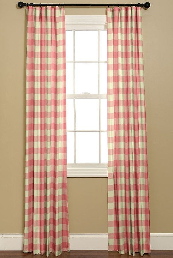 Girls Pink And White Checkered Curtains P By BELLASHOMEDECOR