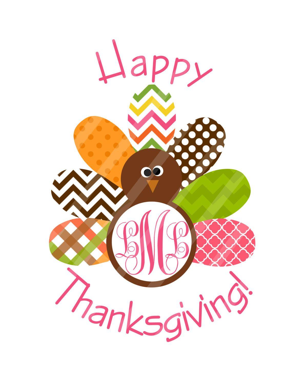 Thanksgiving Printable, Happy Thanksgiving Turkey, Pink ...