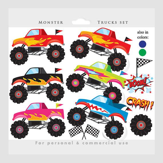 Monster Trucks Clipart Trucks Clip Art Pink Blue Fire Red