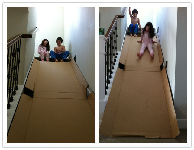 How To Make Diy Cardboard Stair Slide For Kids Stair Slide Kids