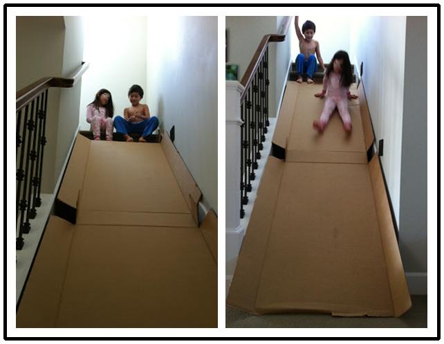 How To Make Diy Cardboard Stair Slide For Kids Stair Slide Kids