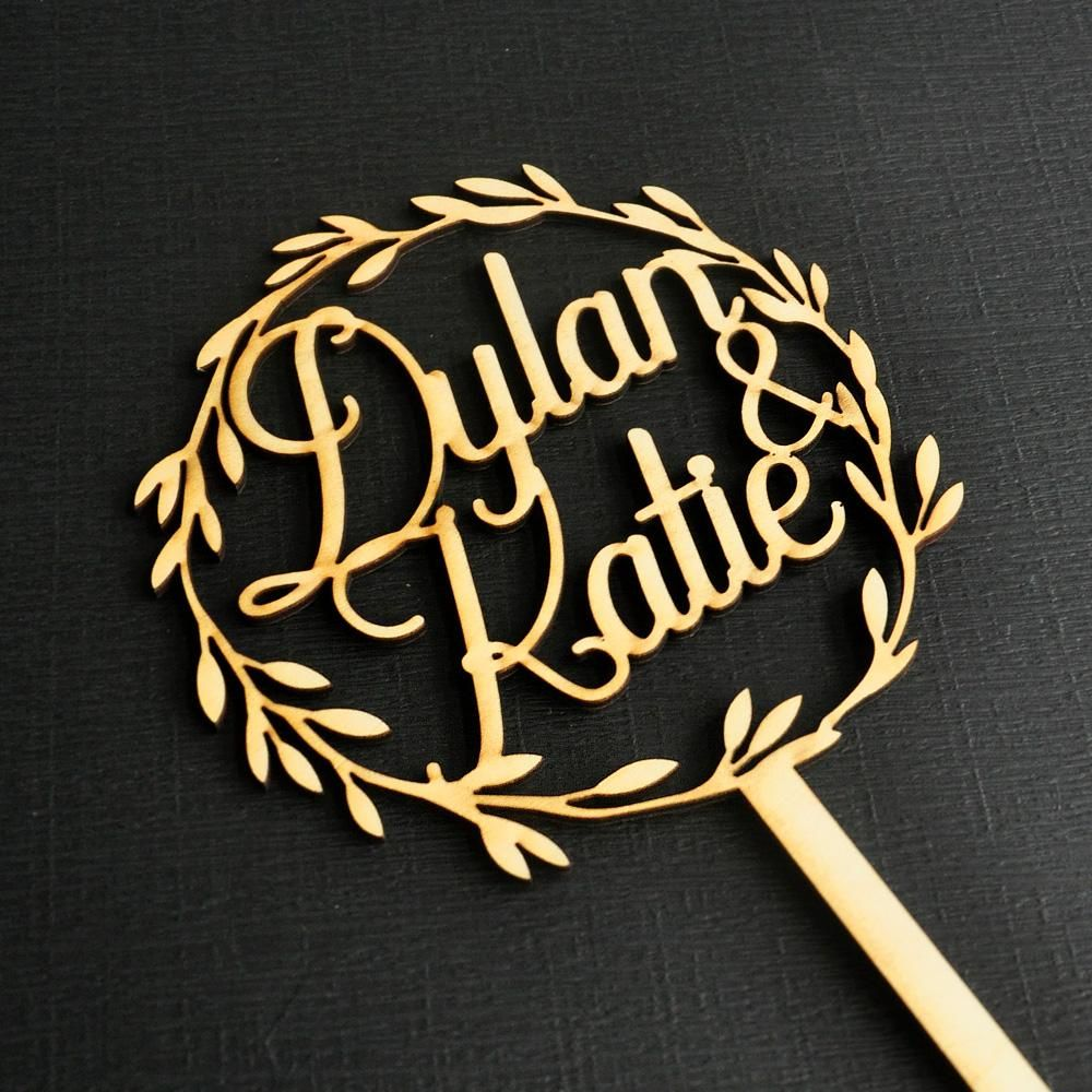 Personalised Names Wooden Wreath Cake Topper In 2019