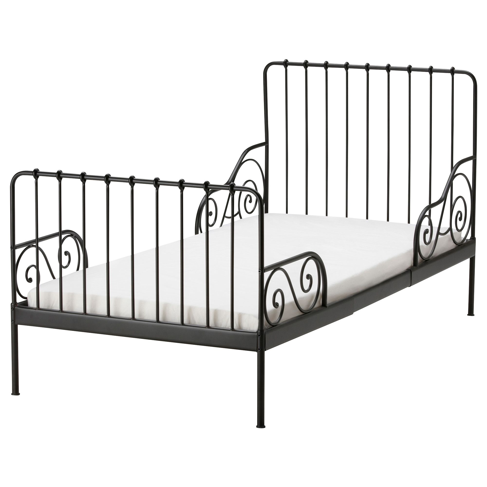 MINNEN Ext bed frame with slatted bed base black brown IKEA and