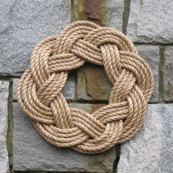 Nautical Wreath, Manila Rope Wreath Sailor Knot Wreath for wall or Centerpiece