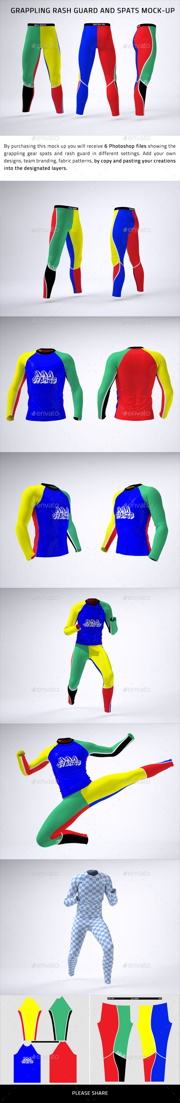 Grappling Rash Guard and Spats Mock-Up | Mockups | Mockup