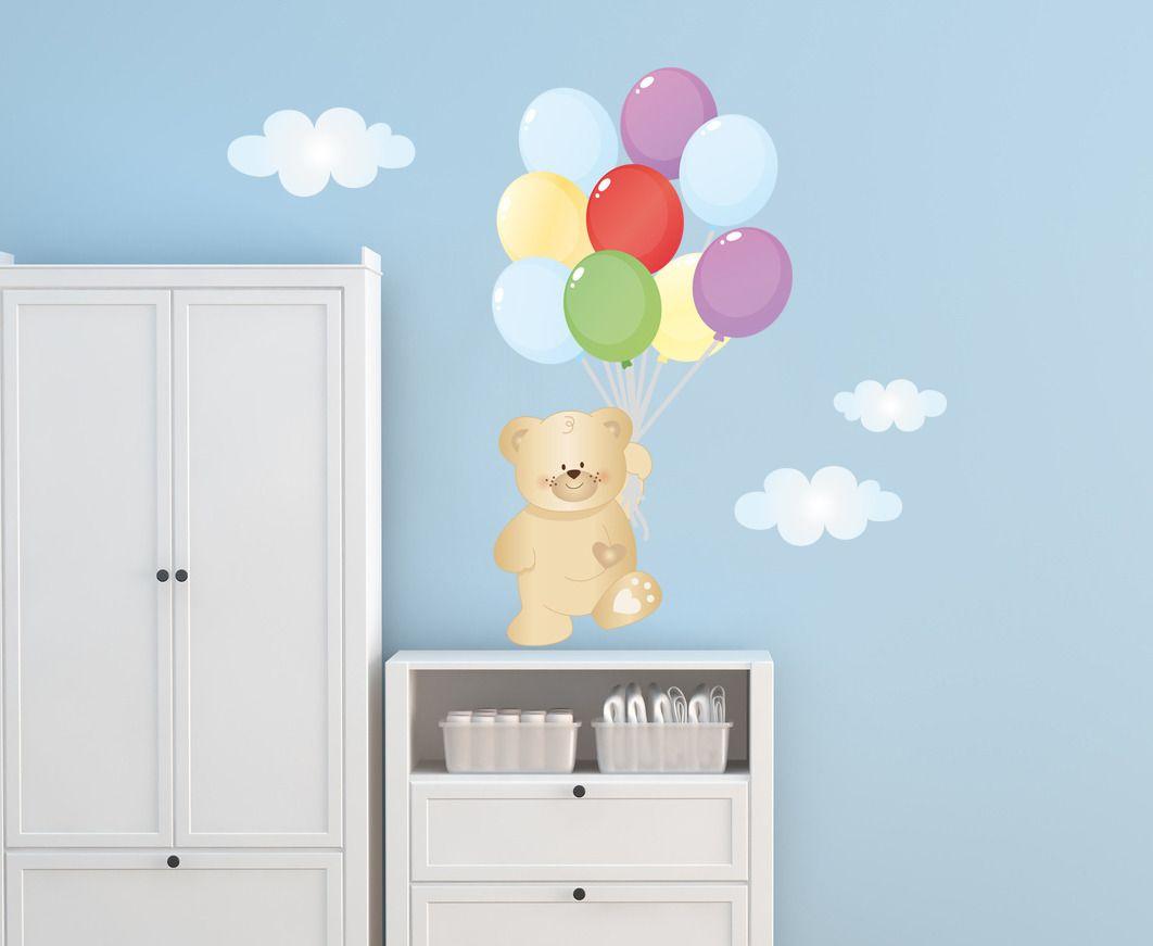 Adesivi murali bambini decorazioni camerette kit orsetto for Decorazioni camerette bambini